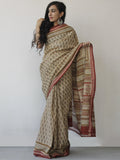Beige Maroon Black Khadi Hand Block Printed Saree in Natural Dyes - S031702487