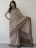 Beige Black Maroon Khadi Hand Block Printed Saree in Natural Dyes - S031702488