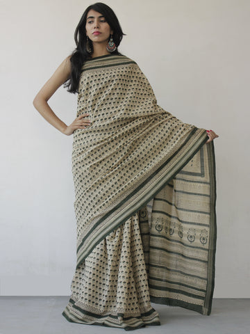 Ivory Green Black Khadi Hand Block Printed Saree in Natural Dyes - S031702490