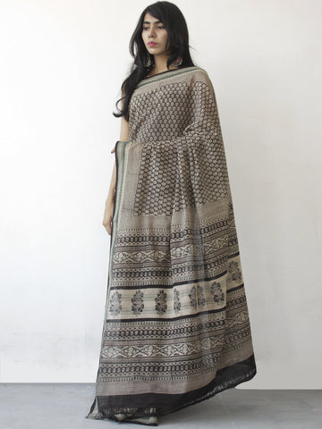 Beige Black Khadi Hand Block Printed Saree in Natural Dyes - S031702474