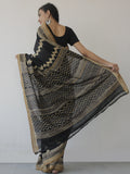 Black Beige Khadi Hand Block Printed Saree in Natural Dyes - S031702473