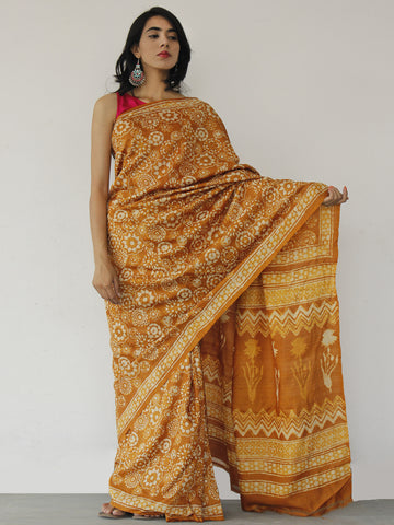 Tussar Handloom Silk Hand Block Printed Saree in Rust Ivory Orange - S031702536