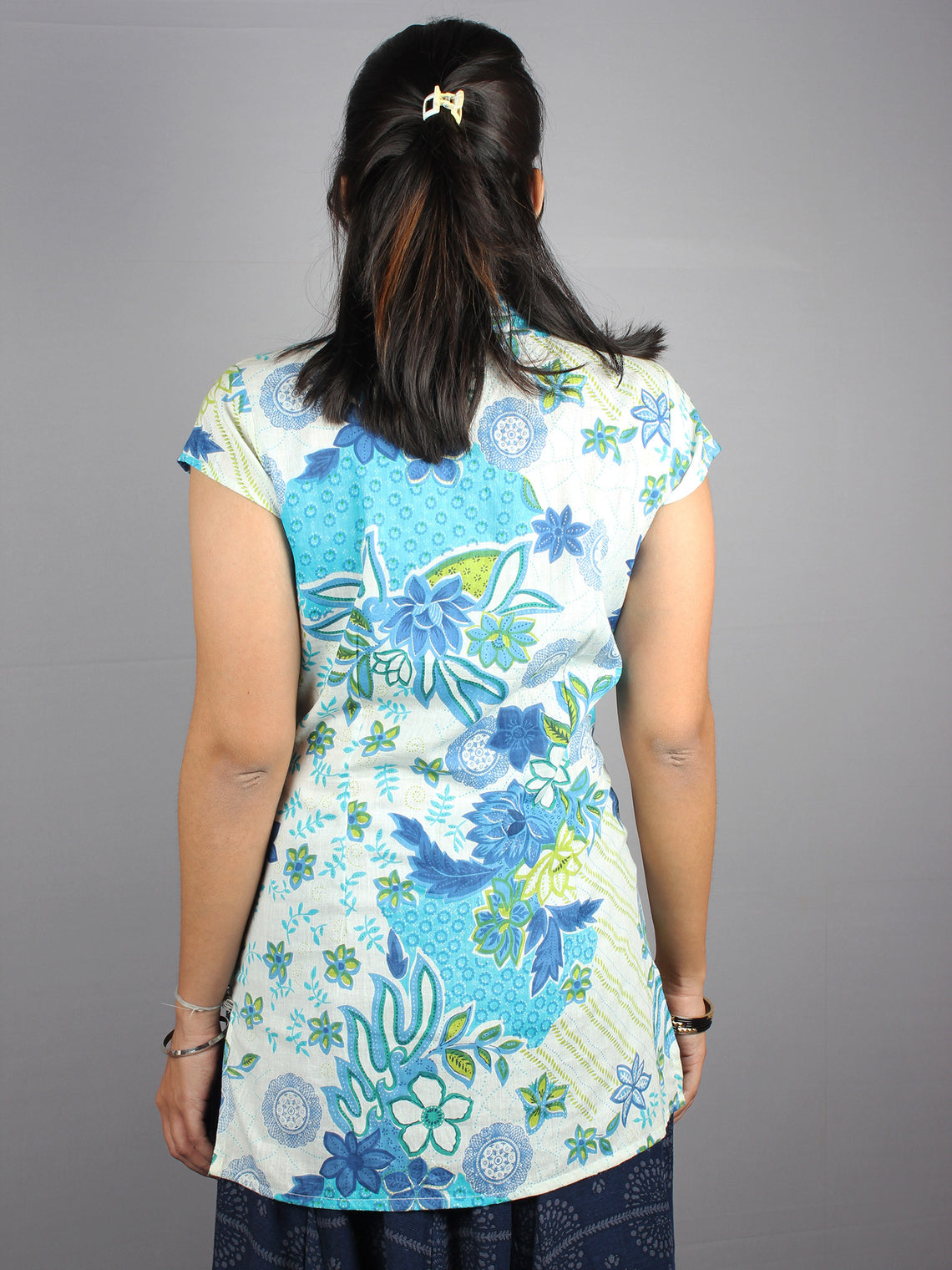 White Blue Hand Block Printed Shirt- S3517025