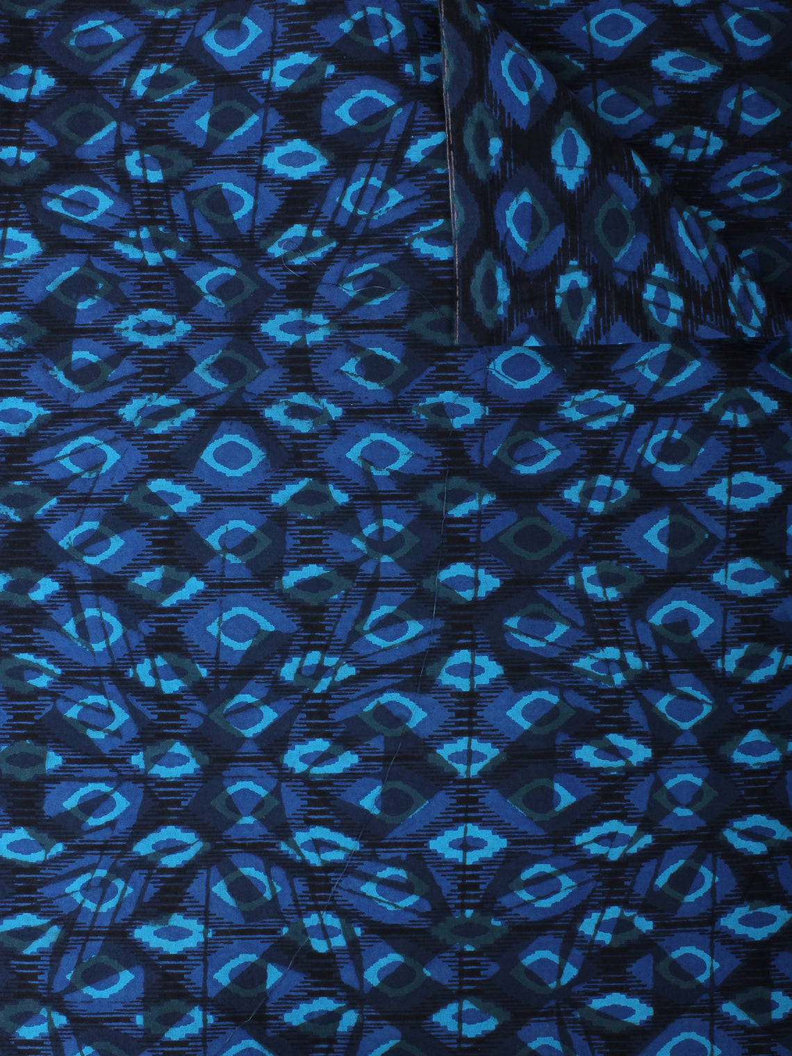 Indigo Sky Blue Hand Block Printed Cotton Cambric Fabric Per Meter - F0916414