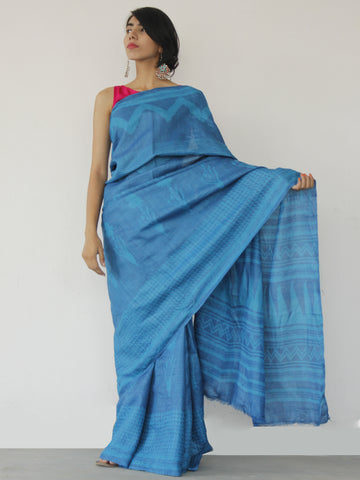 Tussar Handloom Silk Hand Block Printed Saree in Metallic Blue - S031702546