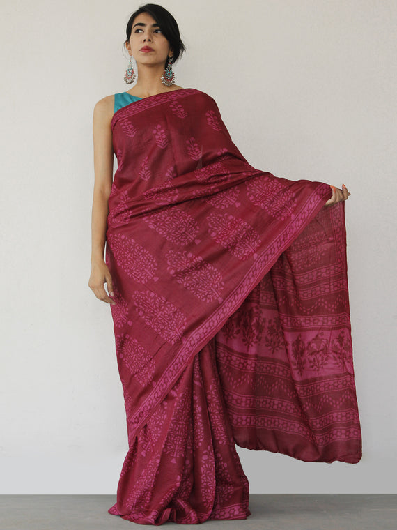 Tussar Handloom Silk Hand Block Printed Saree in Maroon Pink - S031702549