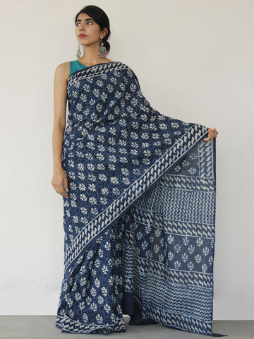 Indigo White Hand Block Printed Cotton Saree In Natural Colors - S031702519