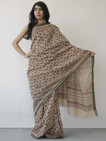 Beige Maroon Black Green Khadi Hand Block Printed Saree in Natural Dyes - S031702491