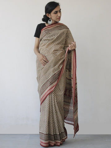Beige Maroon Green Khadi Hand Block Printed Saree in Natural Dyes - S031702493