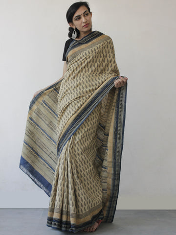 Beige Black Blue Khadi Hand Block Printed Saree in Natural Dyes - S031702495
