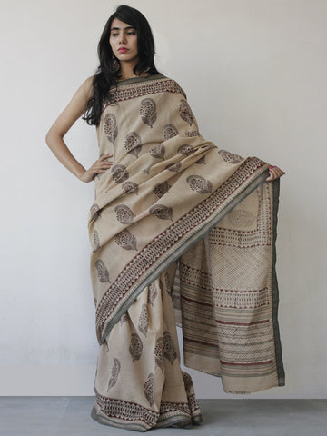 Beige Maroon Black Khadi Hand Block Printed Saree in Natural Dyes - S031702496