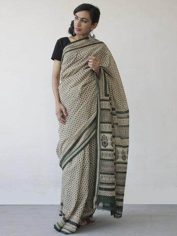 Beige Green Black Khadi Hand Block Printed Handloom Saree in Natural Dyes - S031702499