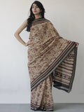 Beige Maroon Black Khadi Hand Block Printed Handloom Saree in Natural Dyes - S031702500