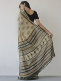 Beige Green Mustard Black Khadi Hand Block Printed Handloom Saree in Natural Dyes - S031702501