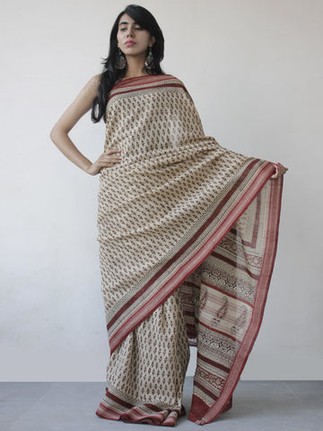 Beige Rust Maroon Black Khadi Hand Block Printed Handloom Saree in Natural Dyes - S031702502