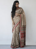 Beige Maroon Black Khadi Hand Block Printed Handloom Saree in Natural Dyes - S031702504