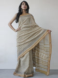 Beige Mustard Black Khadi Hand Block Printed Handloom Saree in Natural Dyes - S031702507