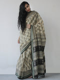 Beige Green Black Khadi Hand Block Printed Handloom Saree in Natural Dyes - S031702512
