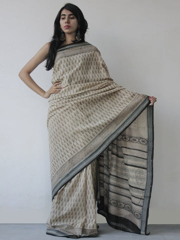 Beige Black Green Khadi Hand Block Printed Handloom Saree in Natural Dyes - S031702513