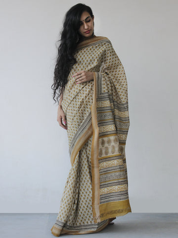 Mustard Beige Black Khadi Hand Block Printed Handloom Saree in Natural Dyes - S031702514