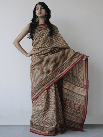 Maroon Brown Green Khadi Hand Block Printed Handloom Saree in Natural Dyes - S031702515