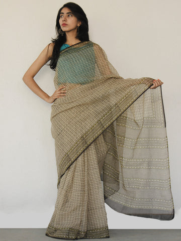 Beige Green Black Hand Block Printed Kota Doria Saree in Natural Colors - S031702530