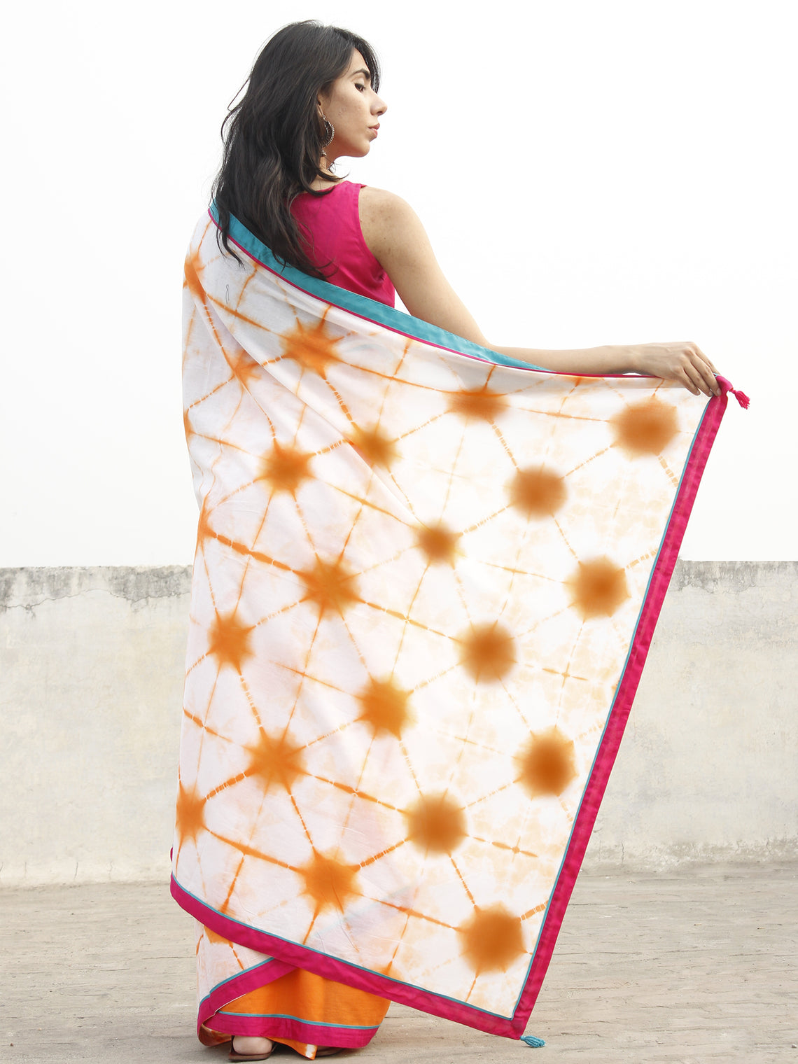 Orange White Shibori Dyed Cotton Saree With Magenta Teal green Border & Tassels - S031702565