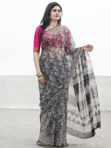 Beige Black Hand Block Printed Chiffon Saree With Zari Border- S031702569