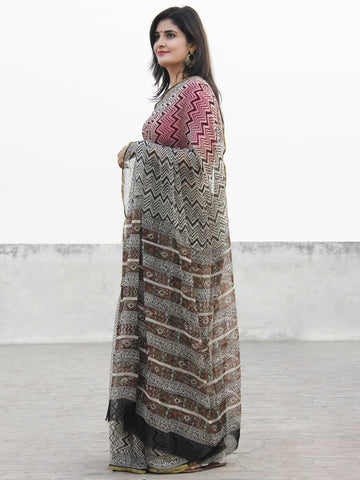 Beige Black Hand Block Printed Chiffon Saree With Zari Border- S031702577