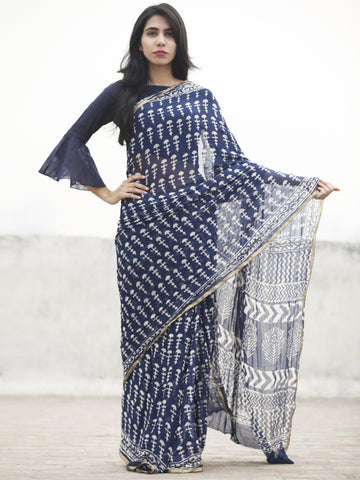 Blue white Hand Block Printed Chiffon Saree With Zari Border - S031702593