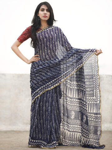 Navy Blue white Hand Block Printed Chiffon Saree With Zari Border - S031702597