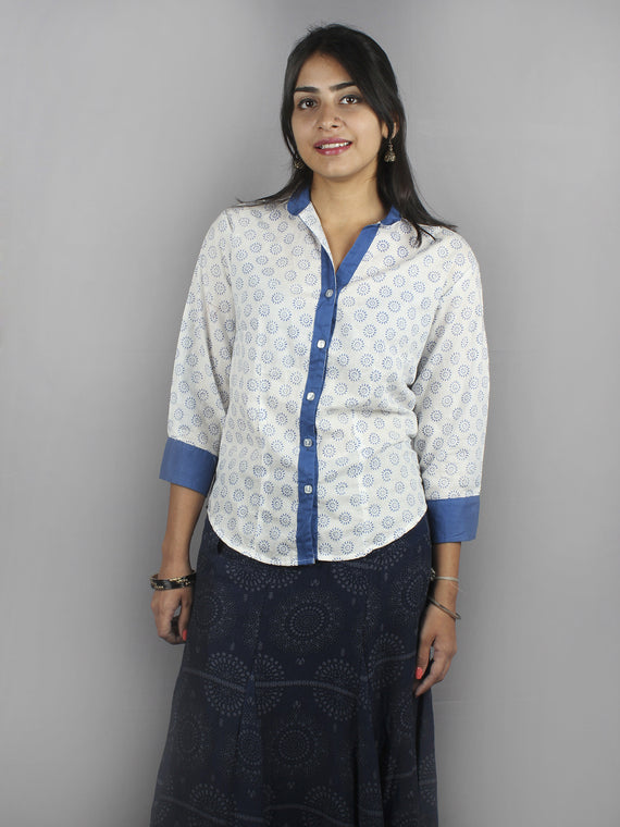 White Blue Hand Block Printed Shirt- S3517026