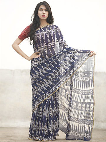 Navy Blue White Hand Block Printed Chiffon Saree With Zari Border - S031702602