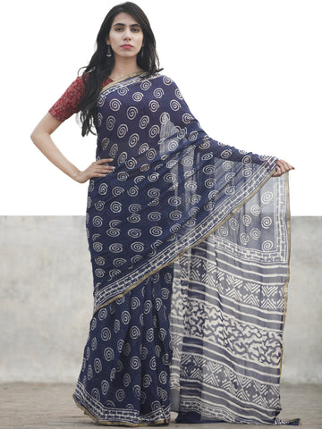 Navy Blue White Hand Block Printed Chiffon Saree With Zari Border - S031702608