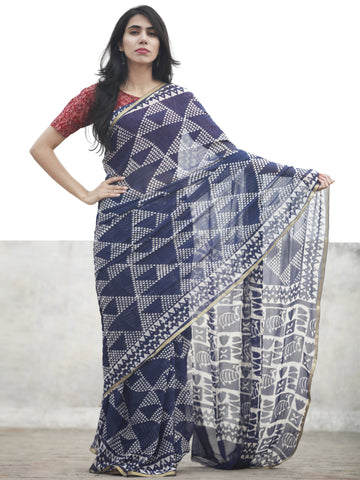 Navy Blue white Hand Block Printed Chiffon Saree With Zari Border - S031702611