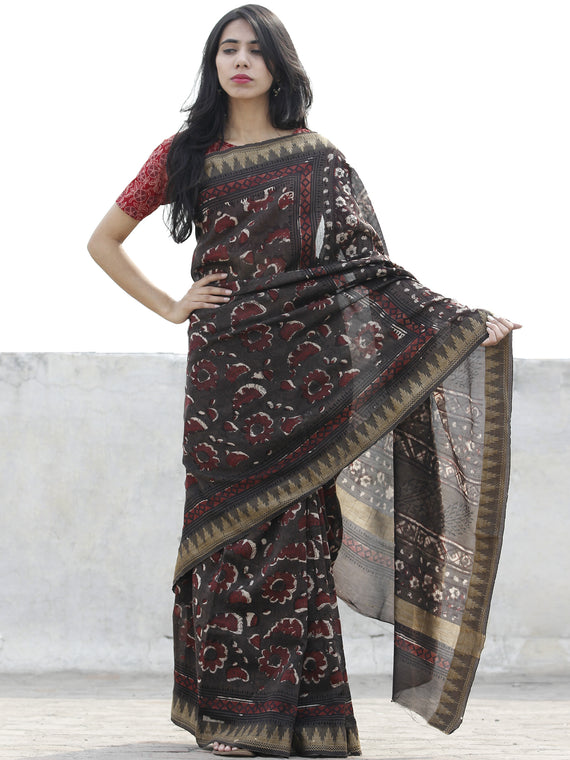 Brown Maroon Ivory Chanderi Silk Hand Block Printed Saree With Geecha Border - S031702622