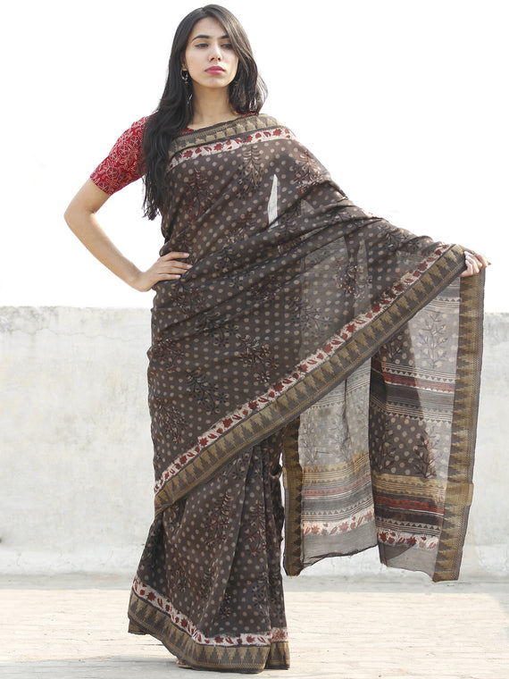 Chocolate Brown Red  Black Chanderi Silk Hand Block Printed Saree With Geecha Border - S031702629