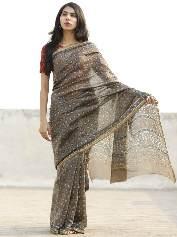 Brown White Chanderi Silk Ajrakh Hand Block Printed Saree With Zari Border - S031702639