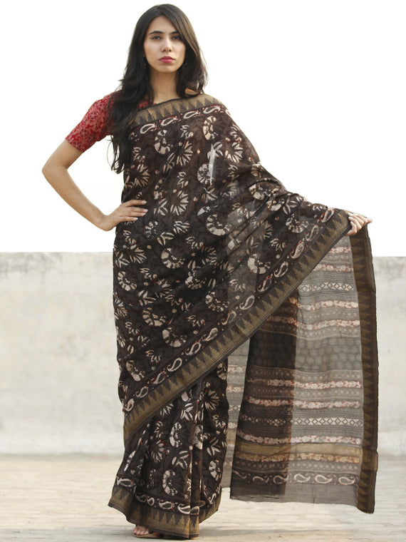 Brown Grey Ivory Chanderi Silk Hand Block Printed Saree With Geecha Border - S031702641