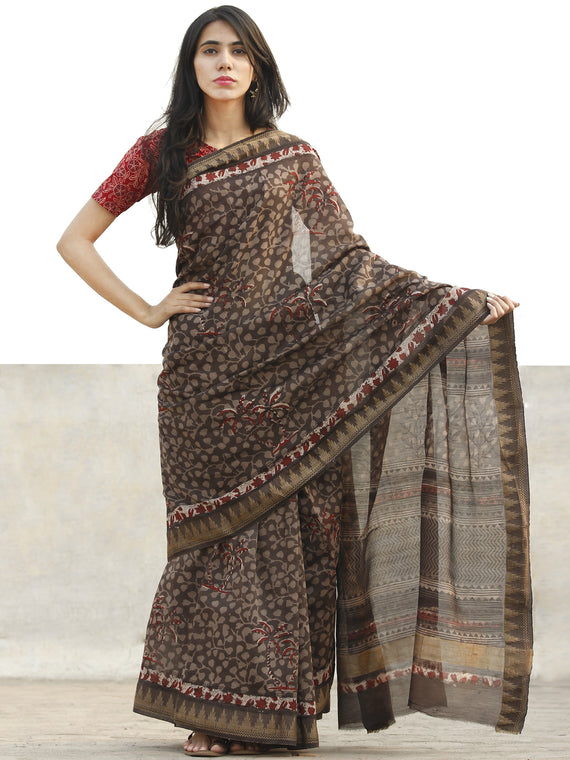 Chocolate Brown Red Chanderi Silk Hand Block Printed Saree With Geecha Border - S031702645