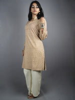 Beige Red Hand Block Printed Kurti- K0517026