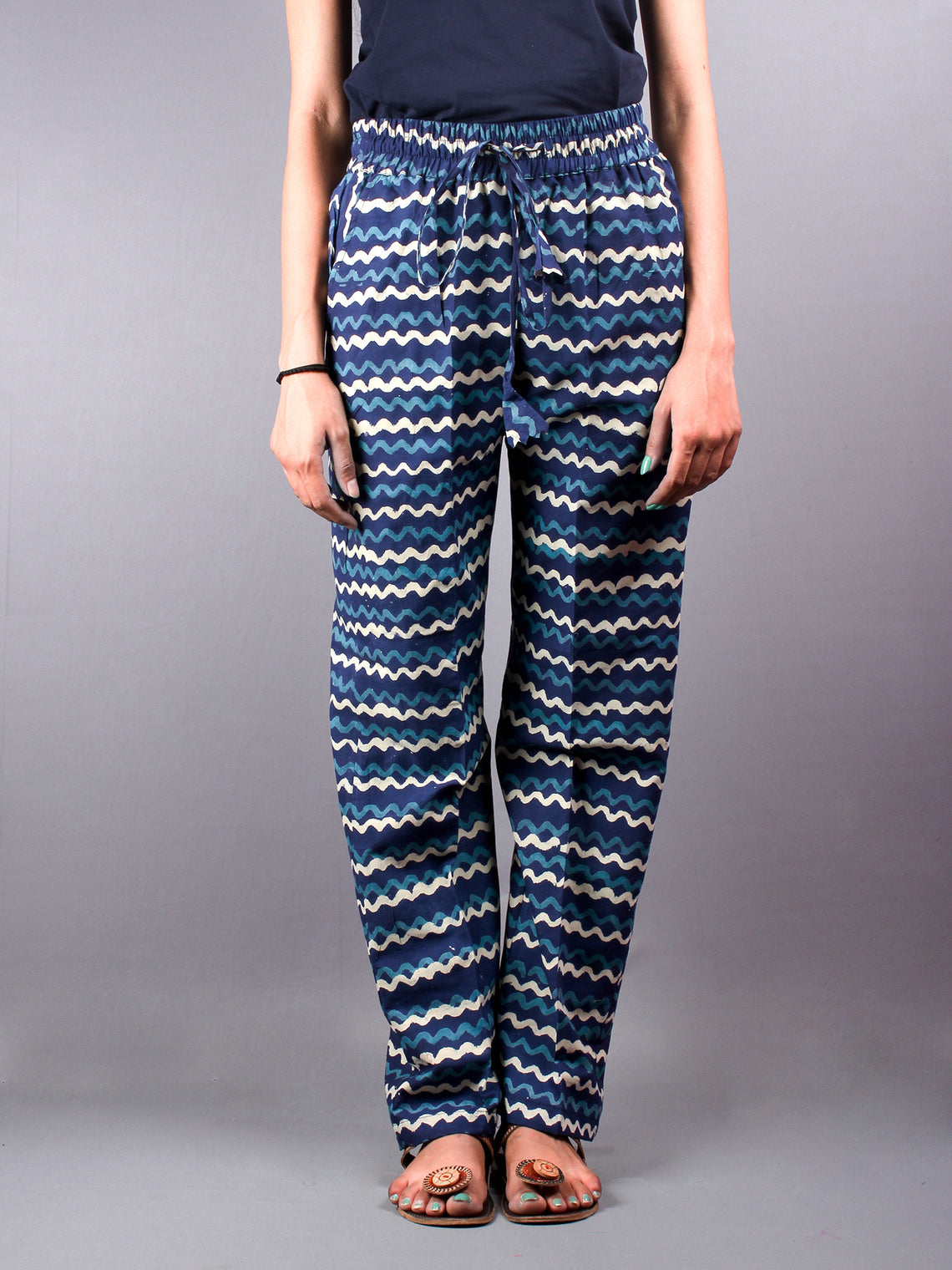 Indigo Hand Block Printed Elasticated Waist Trousers- T0317027