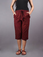 Red Hand Block Printed Elasticated Waist Capri - C0267027