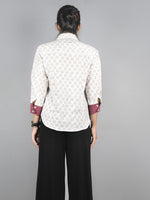 White Pink Hand Block Printed Shirt- S3517028