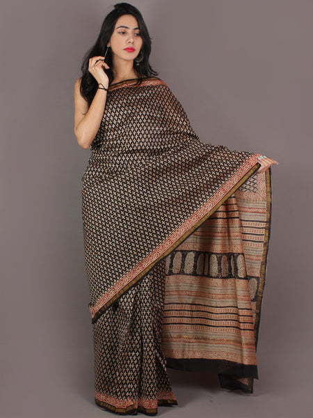 Beige Red Black Chanderi Bagru Hand Block Printed Saree - S03170282