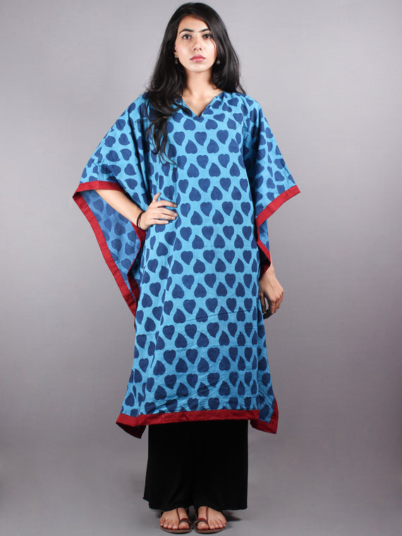 Indigo Hand Block Printed Kaftan with Red Border - K1157F03