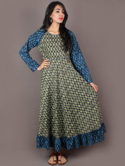 Mint Green Blue Grey Hand Block Printed Long Cotton Dress With Gather - D0641307