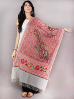 Grey Multi Color Aari Embroidery Pure Wool Stole from Kashmir - S6317075