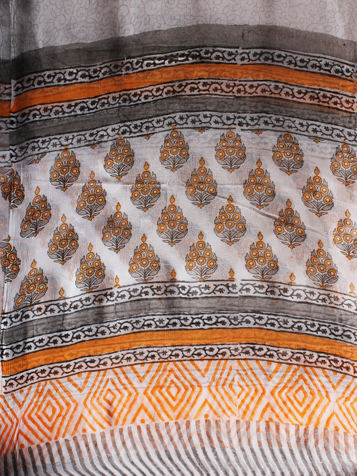 White Orange Grey Hand Block Printed Cotton Suit-Salwar Fabric With Chiffon Dupatta - S1628096