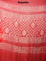Red White Hand Block Printed Cotton Suit-Salwar Fabric With Chiffon Dupatta - S1628043